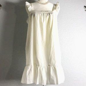 J Crew Madewell Ruffle Apron White Dress Large